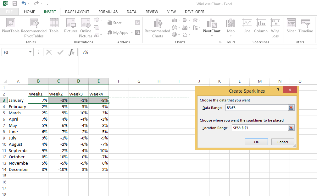 win loss chart in excel 2